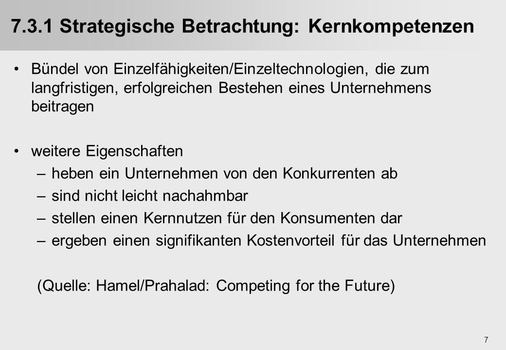 7 7.3.1 Strategische Betrachtung: Kernkompetenzen Bündel von Einzelfähigkeiten/Einzeltechnologien, die zum langfristigen, erfolgreichen Bestehen eines