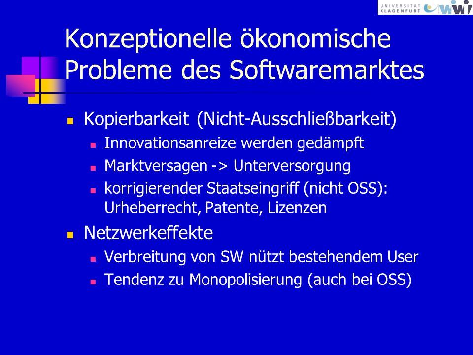 Konzeptionelle ökonomische Probleme des Softwaremarktes Kopierbarkeit (Nicht-Ausschließbarkeit) Innovationsanreize werden gedämpft Marktversagen -> Unterversorgung korrigierender Staatseingriff (nicht OSS): Urheberrecht, Patente, Lizenzen Netzwerkeffekte Verbreitung von SW nützt bestehendem User Tendenz zu Monopolisierung (auch bei OSS)