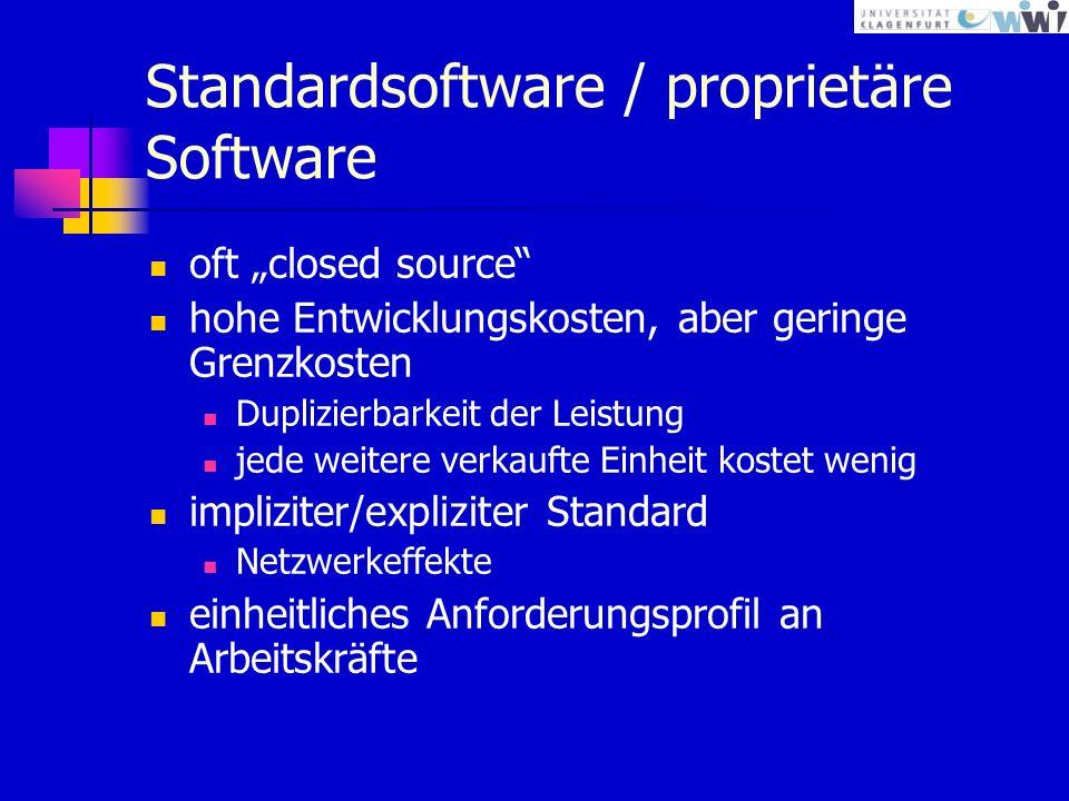 Standardsoftware / proprietäre Software oft closed source hohe Entwicklungskosten, aber geringe Grenzkosten Duplizierbarkeit der Leistung jede weitere verkaufte Einheit kostet wenig impliziter/expliziter Standard Netzwerkeffekte einheitliches Anforderungsprofil an Arbeitskräfte