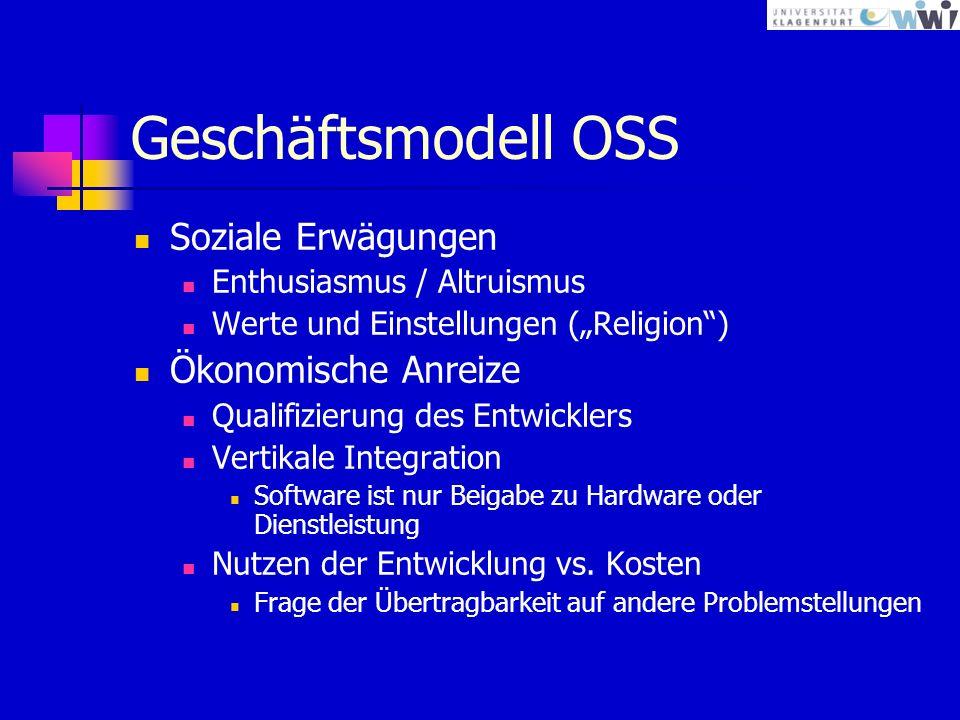 Geschäftsmodell OSS Soziale Erwägungen Enthusiasmus / Altruismus Werte und Einstellungen (Religion) Ökonomische Anreize Qualifizierung des Entwicklers Vertikale Integration Software ist nur Beigabe zu Hardware oder Dienstleistung Nutzen der Entwicklung vs.