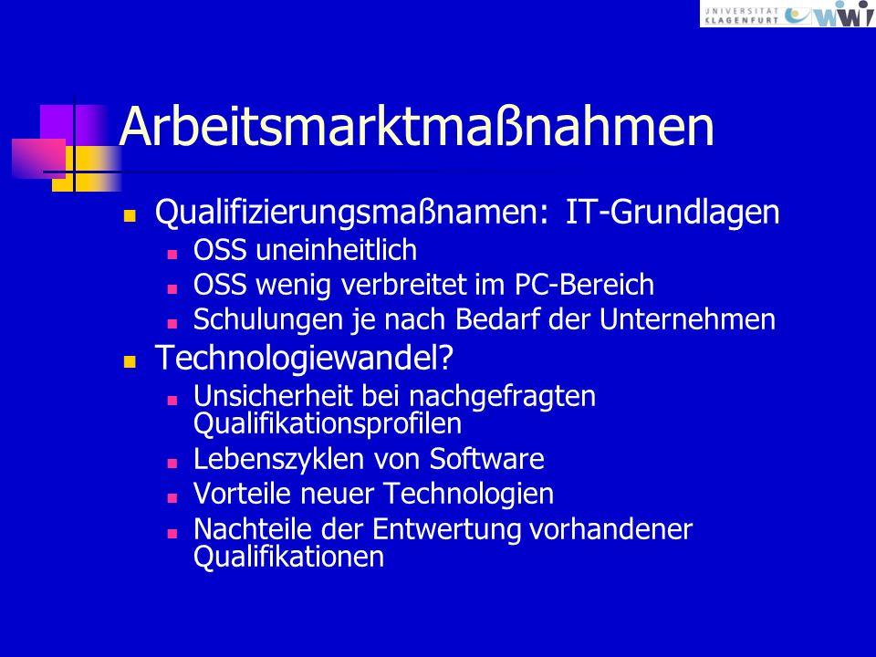 Arbeitsmarktmaßnahmen Qualifizierungsmaßnamen: IT-Grundlagen OSS uneinheitlich OSS wenig verbreitet im PC-Bereich Schulungen je nach Bedarf der Unternehmen Technologiewandel.