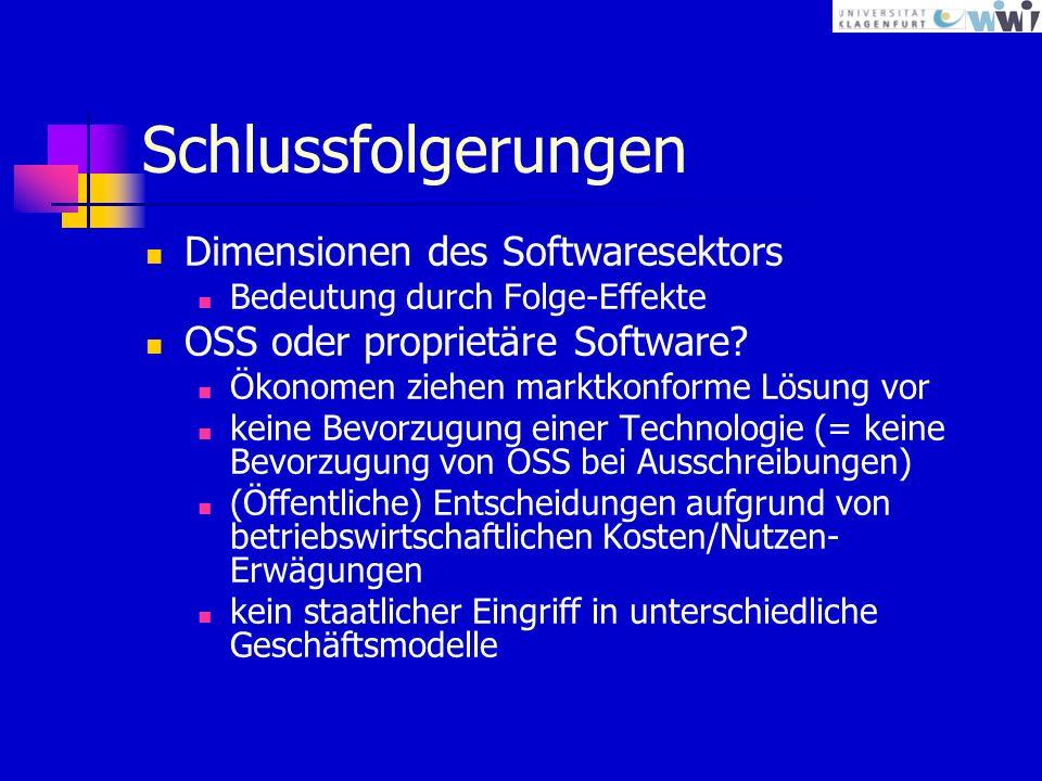 Schlussfolgerungen Dimensionen des Softwaresektors Bedeutung durch Folge-Effekte OSS oder proprietäre Software.