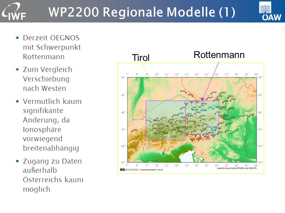 WP2200 Regionale Modelle (2) Vergleich mit Modellen aus südosteuropäischen Netzen (Albanien, Bulgarien, Griechenland) Stärkere saisonale Änderungen, Szintillationen im Sommer Eventuell Prüfung VTEC mit Satellit Jason Eventuell CEGRN- Kampagnen 1994-2009 für letzten Solarzyklus