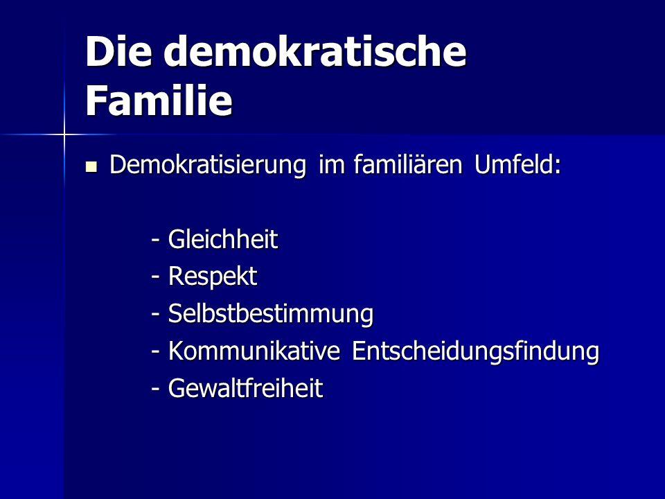 Die demokratische Familie Demokratisierung im familiären Umfeld: Demokratisierung im familiären Umfeld: - Gleichheit - Respekt - Selbstbestimmung - Kommunikative Entscheidungsfindung - Gewaltfreiheit