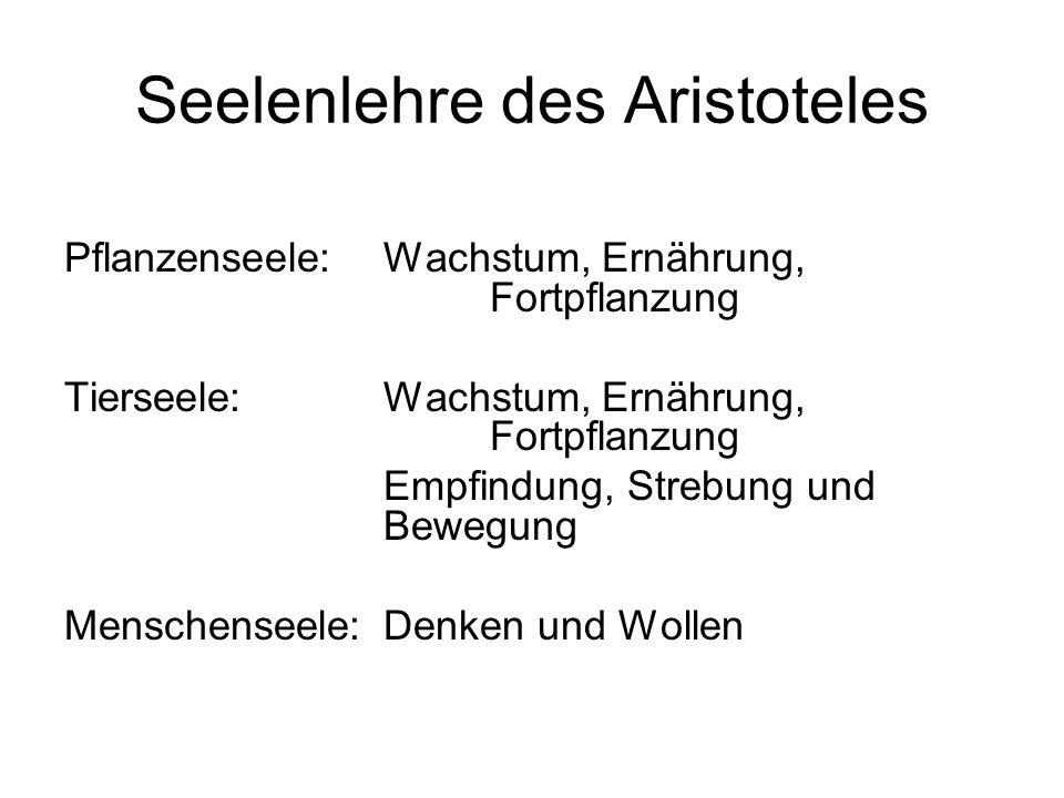 Seelenlehre des Aristoteles Pflanzenseele: Wachstum, Ernährung, Fortpflanzung Tierseele: Wachstum, Ernährung, Fortpflanzung Empfindung, Strebung und Bewegung Menschenseele: Denken und Wollen