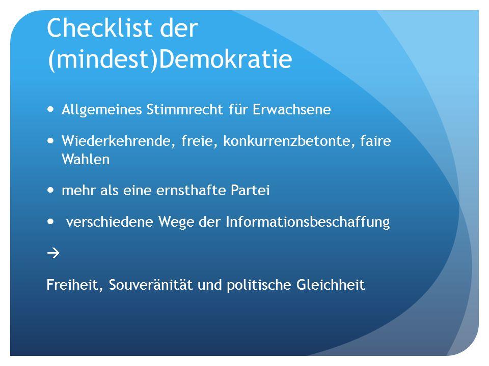Checklist der (mindest)Demokratie Allgemeines Stimmrecht für Erwachsene Wiederkehrende, freie, konkurrenzbetonte, faire Wahlen mehr als eine ernsthafte Partei verschiedene Wege der Informationsbeschaffung Freiheit, Souveränität und politische Gleichheit