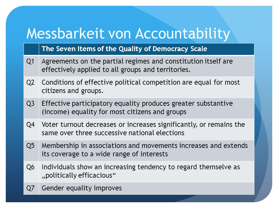 Messbarkeit von Accountability The Seven Items of the Quality of Democracy Scale Q1Agreements on the partial regimes and constitution itself are effec