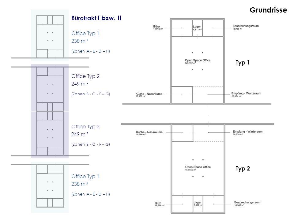 Grundrisse Bürotrakt I bzw. II Office Typ 1 238 m ² (Zonen A - E - D – H) Office Typ 2 249 m ² (Zonen B - C - F – G) Office Typ 2 249 m ² (Zonen B - C