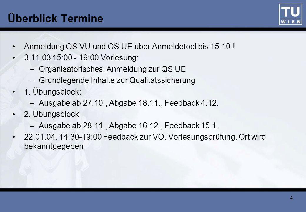 5 Übung zu QS VU 1.Übungsblock (35 Punkte) –Ab 27.10.