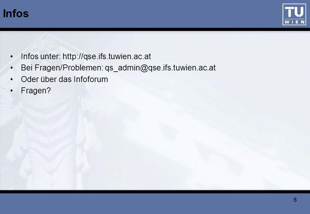 6 Infos Infos unter: http://qse.ifs.tuwien.ac.at Bei Fragen/Problemen: qs_admin@qse.ifs.tuwien.ac.at Oder über das Infoforum Fragen?