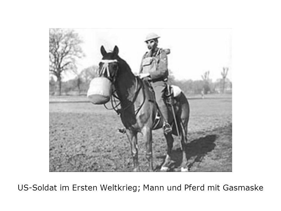 US-Soldat im Ersten Weltkrieg; Mann und Pferd mit Gasmaske