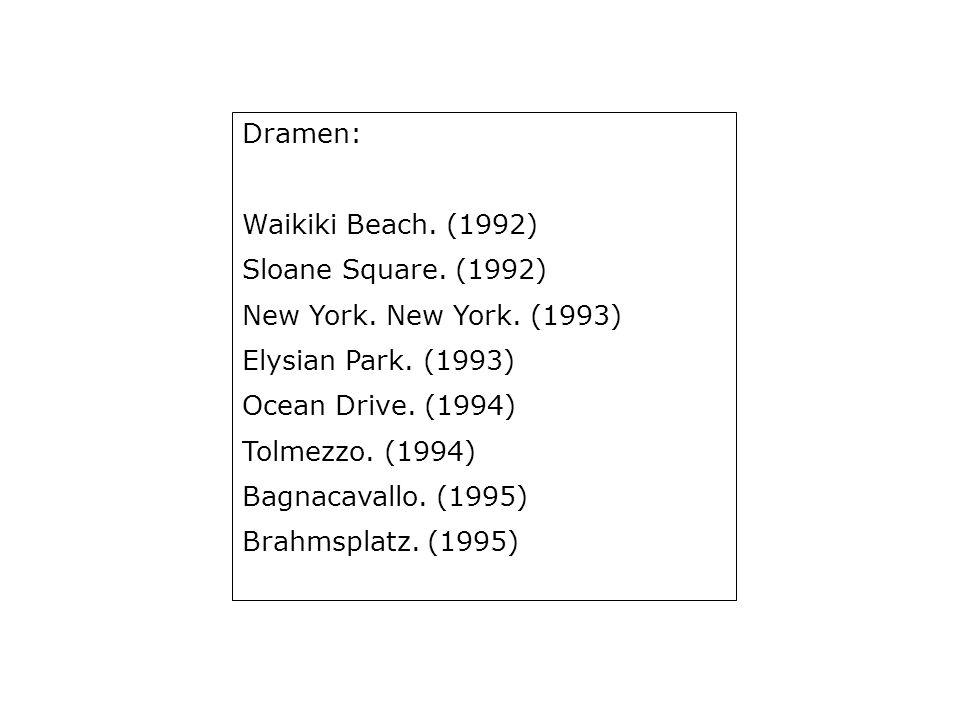 New York. New York.: entst. 1987 UA Münchner Kammerspiele, 30. 1. 1993 EA 1993, Suhrkamp