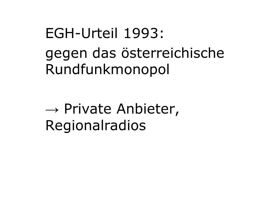 EGH-Urteil 1993: gegen das österreichische Rundfunkmonopol Private Anbieter, Regionalradios