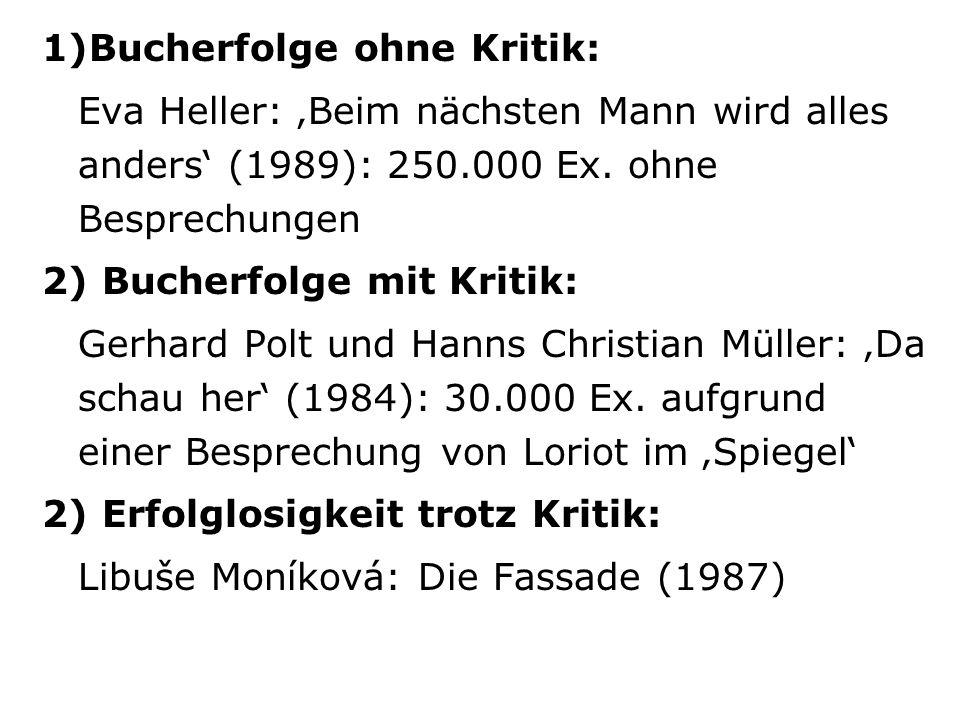 1)Bucherfolge ohne Kritik: Eva Heller: Beim nächsten Mann wird alles anders (1989): 250.000 Ex. ohne Besprechungen 2) Bucherfolge mit Kritik: Gerhard