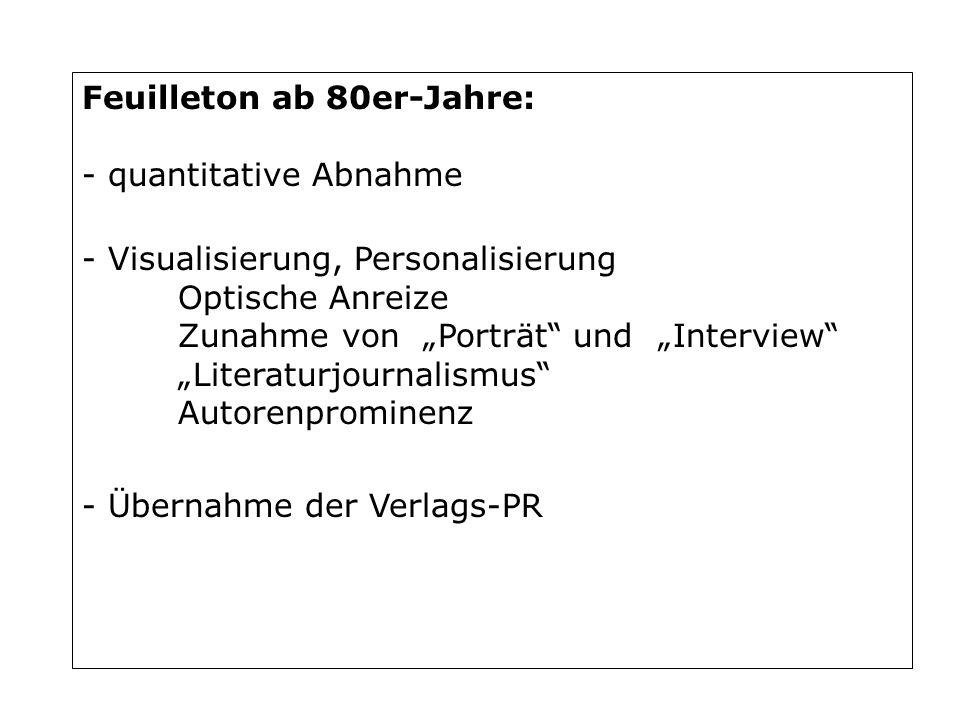 Feuilleton ab 80er-Jahre: - quantitative Abnahme - Visualisierung, Personalisierung Optische Anreize Zunahme von Porträt und Interview Literaturjourna