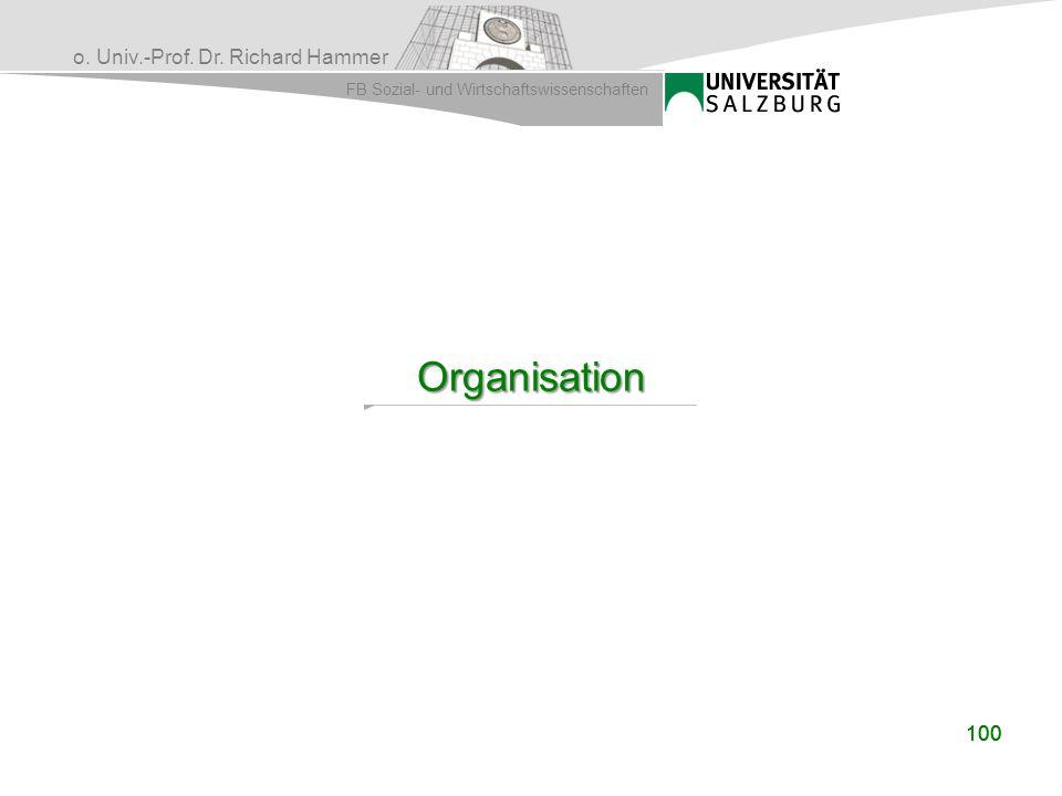 o. Univ.-Prof. Dr. Richard Hammer FB Sozial- und Wirtschaftswissenschaften 100 Organisation