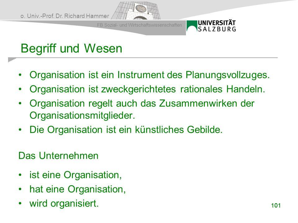 o. Univ.-Prof. Dr. Richard Hammer FB Sozial- und Wirtschaftswissenschaften Organisation ist ein Instrument des Planungsvollzuges. Organisation ist zwe