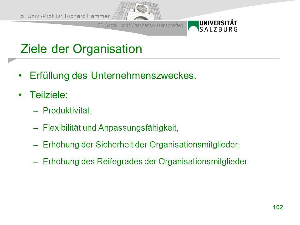 o. Univ.-Prof. Dr. Richard Hammer FB Sozial- und Wirtschaftswissenschaften Erfüllung des Unternehmenszweckes. Teilziele: –Produktivität, –Flexibilität