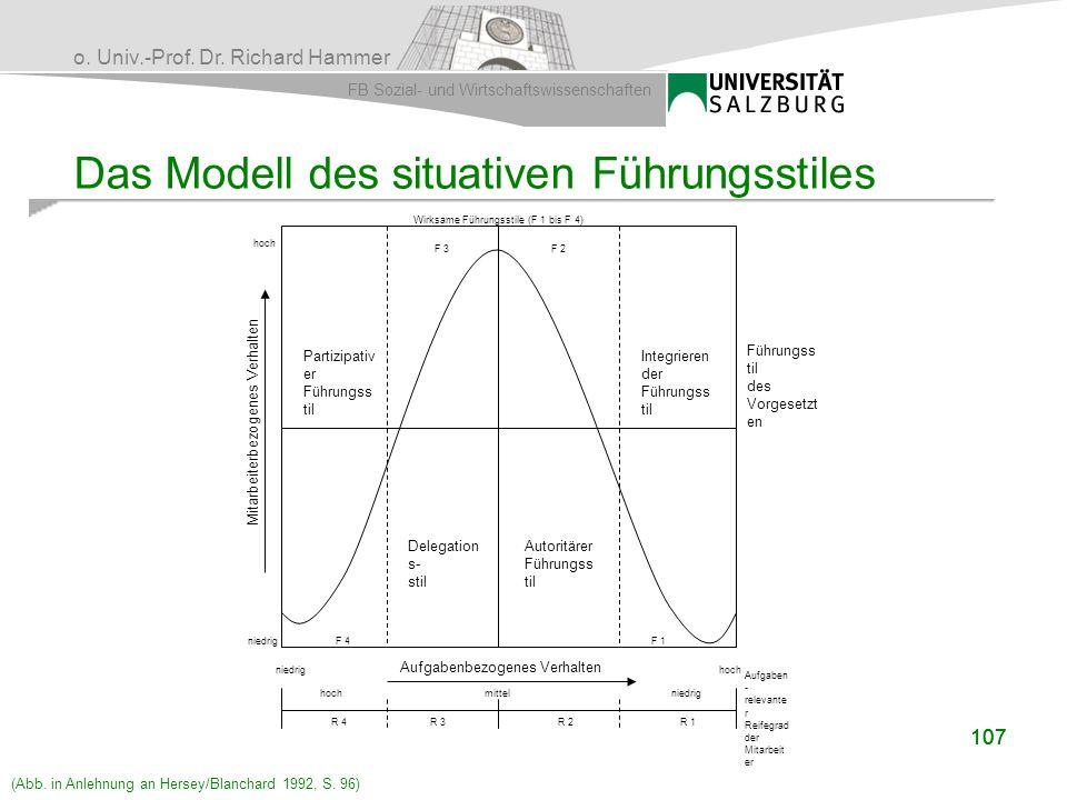 o. Univ.-Prof. Dr. Richard Hammer FB Sozial- und Wirtschaftswissenschaften 107 Das Modell des situativen Führungsstiles Führungss til des Vorgesetzt e
