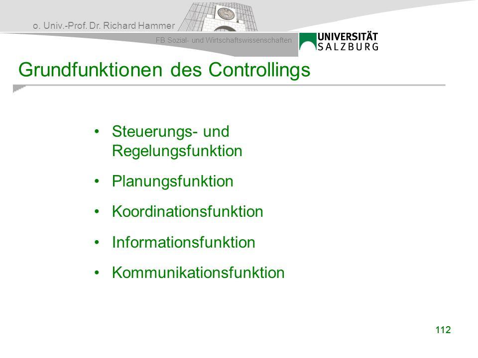 o. Univ.-Prof. Dr. Richard Hammer FB Sozial- und Wirtschaftswissenschaften 112 Grundfunktionen des Controllings Steuerungs- und Regelungsfunktion Plan