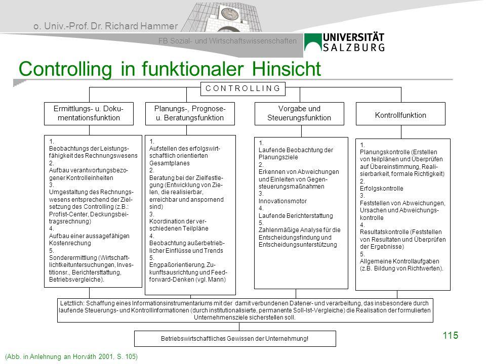 o. Univ.-Prof. Dr. Richard Hammer FB Sozial- und Wirtschaftswissenschaften Ermittlungs- u. Doku- mentationsfunktion Planungs-, Prognose- u. Beratungsf