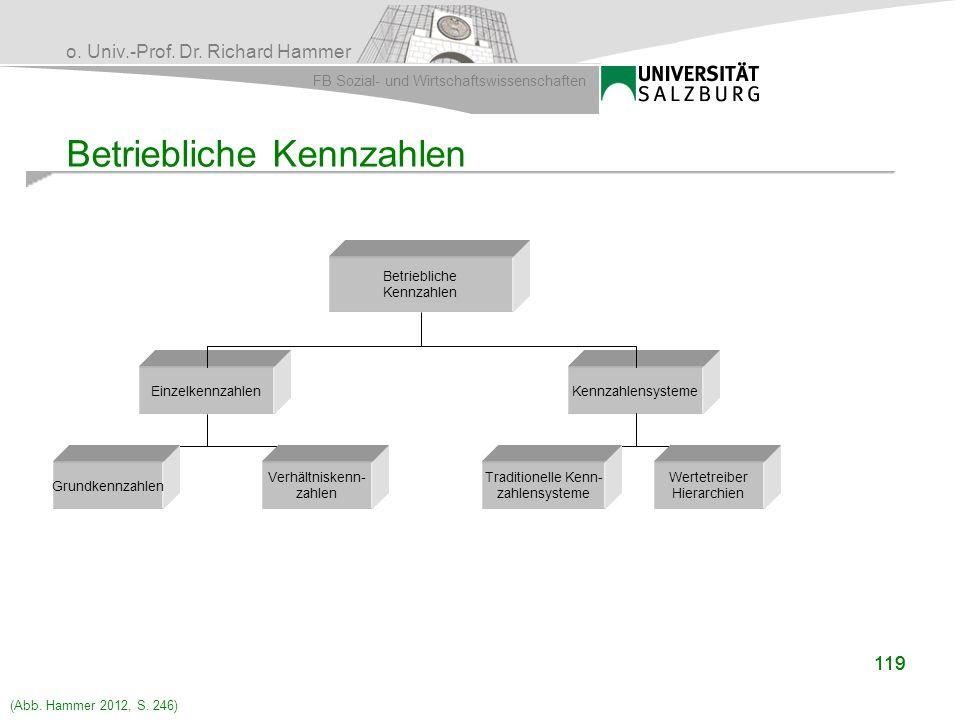 o. Univ.-Prof. Dr. Richard Hammer FB Sozial- und Wirtschaftswissenschaften 119 Betriebliche Kennzahlen EinzelkennzahlenKennzahlensysteme Grundkennzahl