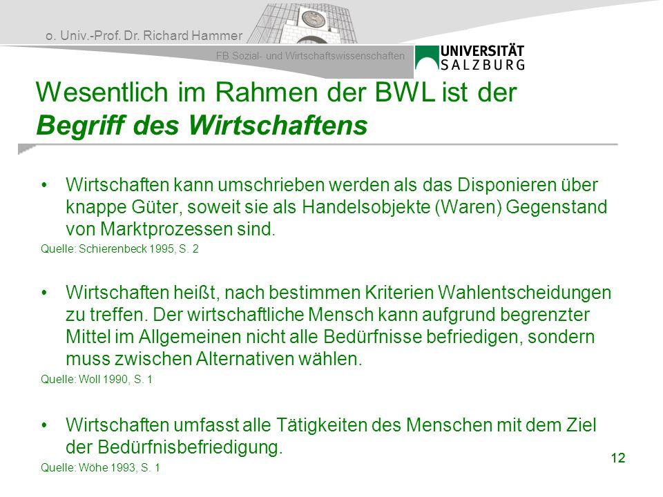 o. Univ.-Prof. Dr. Richard Hammer FB Sozial- und Wirtschaftswissenschaften 12 Wesentlich im Rahmen der BWL ist der Begriff des Wirtschaftens Wirtschaf