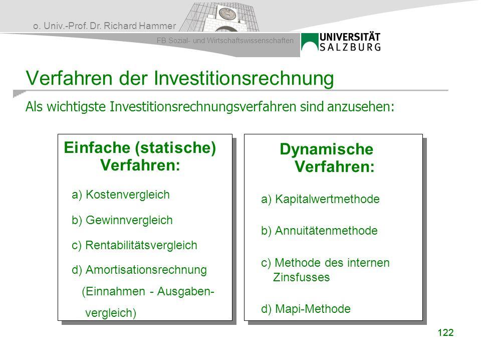 o. Univ.-Prof. Dr. Richard Hammer FB Sozial- und Wirtschaftswissenschaften 122 Verfahren der Investitionsrechnung Einfache (statische) Verfahren: a) K