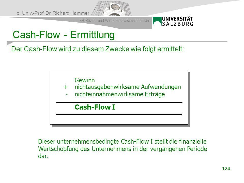 o. Univ.-Prof. Dr. Richard Hammer FB Sozial- und Wirtschaftswissenschaften 124 Cash-Flow - Ermittlung Der Cash-Flow wird zu diesem Zwecke wie folgt er