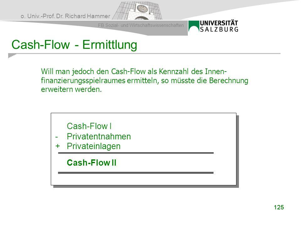 o. Univ.-Prof. Dr. Richard Hammer FB Sozial- und Wirtschaftswissenschaften 125 Cash-Flow - Ermittlung Will man jedoch den Cash-Flow als Kennzahl des I