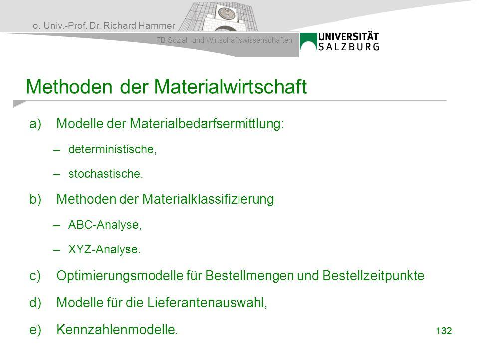 o. Univ.-Prof. Dr. Richard Hammer FB Sozial- und Wirtschaftswissenschaften Methoden der Materialwirtschaft a)Modelle der Materialbedarfsermittlung: –d
