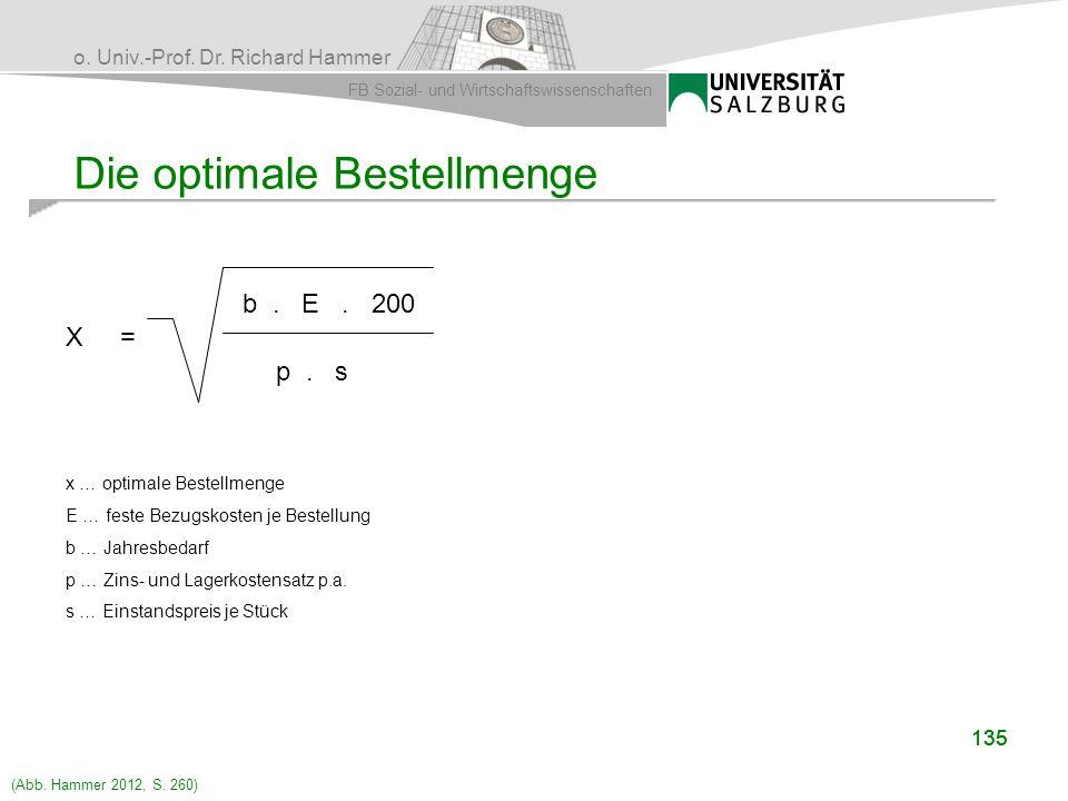 o. Univ.-Prof. Dr. Richard Hammer FB Sozial- und Wirtschaftswissenschaften 135 Die optimale Bestellmenge X = b. E. 200 p. s x … optimale Bestellmenge