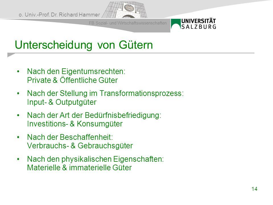 o. Univ.-Prof. Dr. Richard Hammer FB Sozial- und Wirtschaftswissenschaften Unterscheidung von Gütern Nach den Eigentumsrechten: Private & Öffentliche