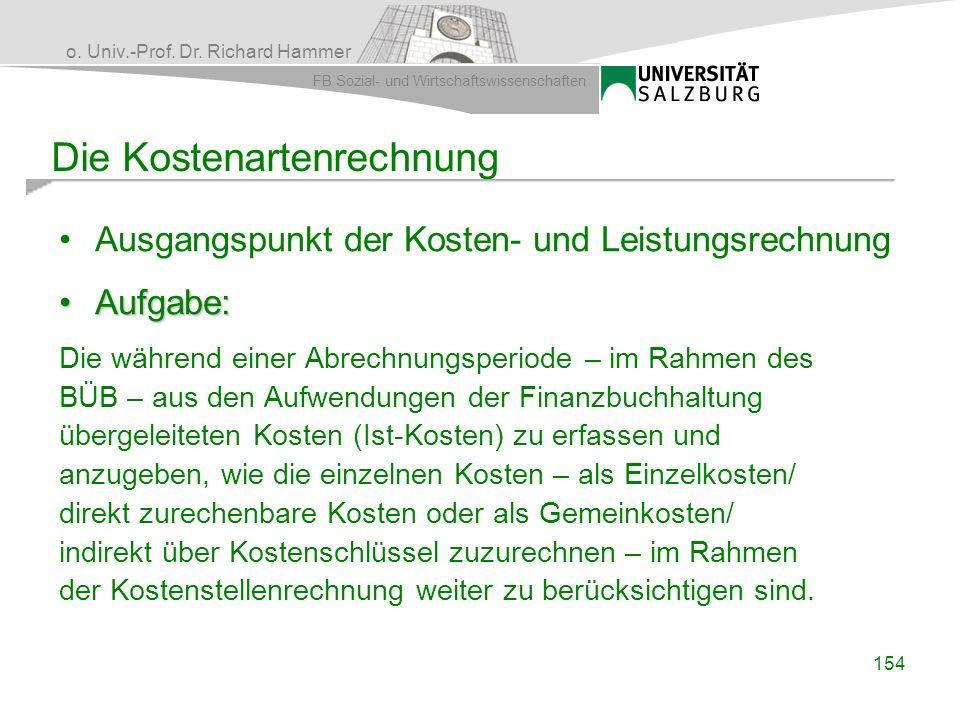 o. Univ.-Prof. Dr. Richard Hammer FB Sozial- und Wirtschaftswissenschaften 154 Die Kostenartenrechnung Ausgangspunkt der Kosten- und Leistungsrechnung