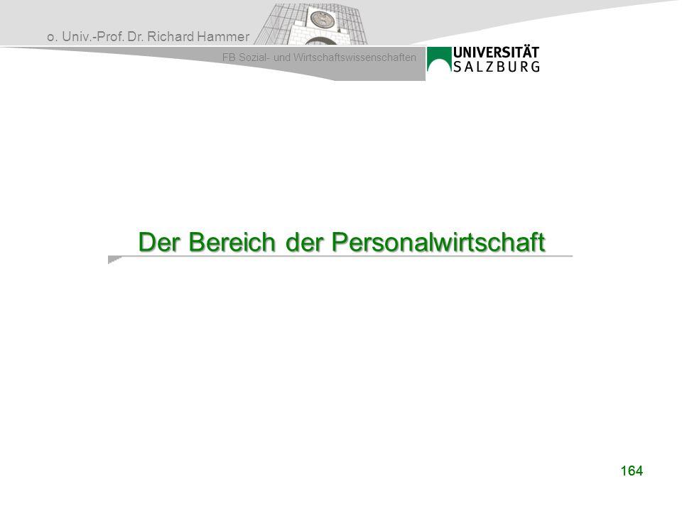 o. Univ.-Prof. Dr. Richard Hammer FB Sozial- und Wirtschaftswissenschaften 164 Der Bereich der Personalwirtschaft