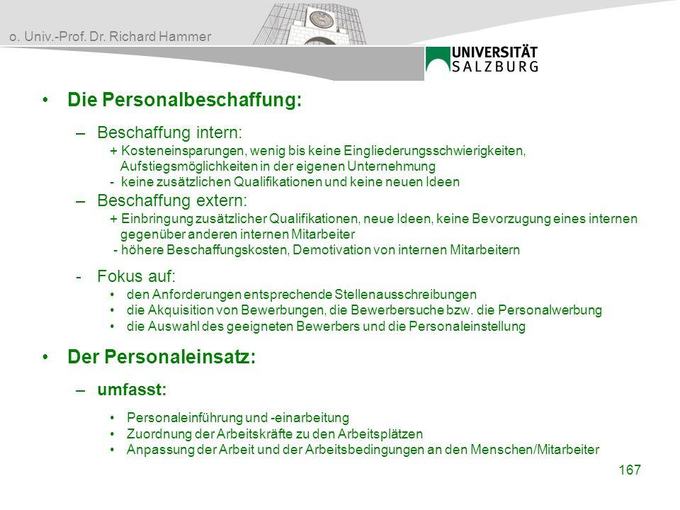 o. Univ.-Prof. Dr. Richard Hammer Die Personalbeschaffung: –Beschaffung intern: + Kosteneinsparungen, wenig bis keine Eingliederungsschwierigkeiten, A
