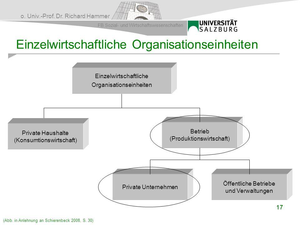 o. Univ.-Prof. Dr. Richard Hammer FB Sozial- und Wirtschaftswissenschaften 17 Einzelwirtschaftliche Organisationseinheiten Betrieb (Produktionswirtsch
