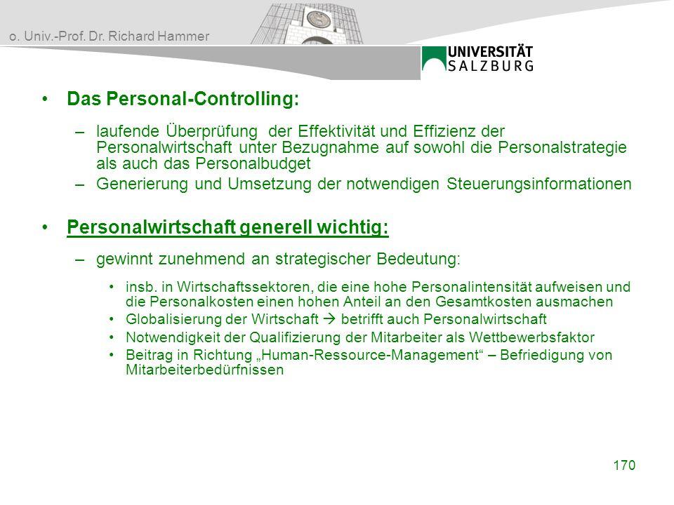 o. Univ.-Prof. Dr. Richard Hammer Das Personal-Controlling: –laufende Überprüfung der Effektivität und Effizienz der Personalwirtschaft unter Bezugnah