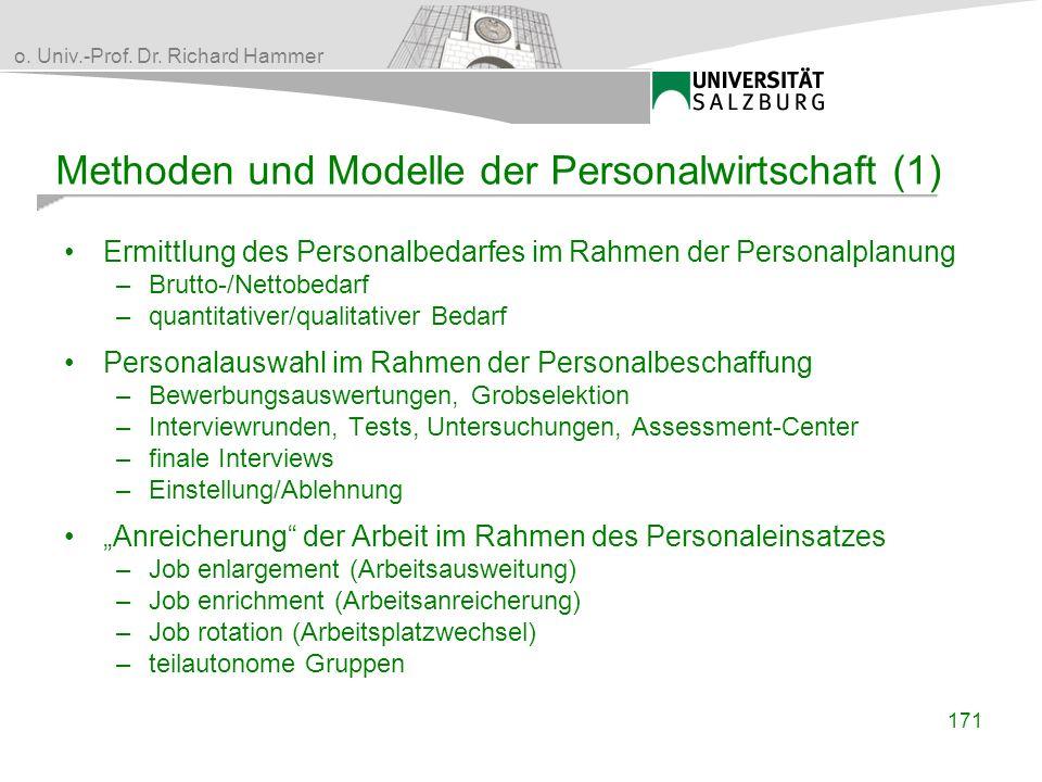 o. Univ.-Prof. Dr. Richard Hammer Methoden und Modelle der Personalwirtschaft (1) Ermittlung des Personalbedarfes im Rahmen der Personalplanung –Brutt
