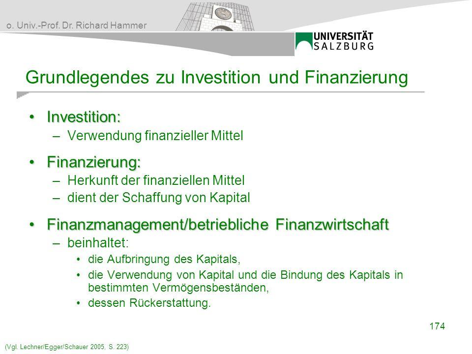 o. Univ.-Prof. Dr. Richard Hammer Grundlegendes zu Investition und Finanzierung Investition:Investition: –Verwendung finanzieller Mittel Finanzierung: