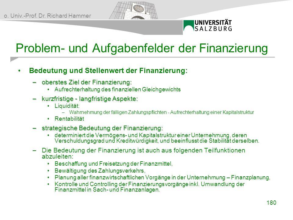 o. Univ.-Prof. Dr. Richard Hammer Problem- und Aufgabenfelder der Finanzierung Bedeutung und Stellenwert der Finanzierung: –oberstes Ziel der Finanzie