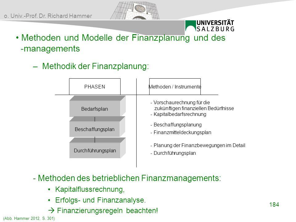 o. Univ.-Prof. Dr. Richard Hammer Methoden und Modelle der Finanzplanung und des -managements Bedarfsplan Beschaffungsplan Durchführungsplan PHASENMet