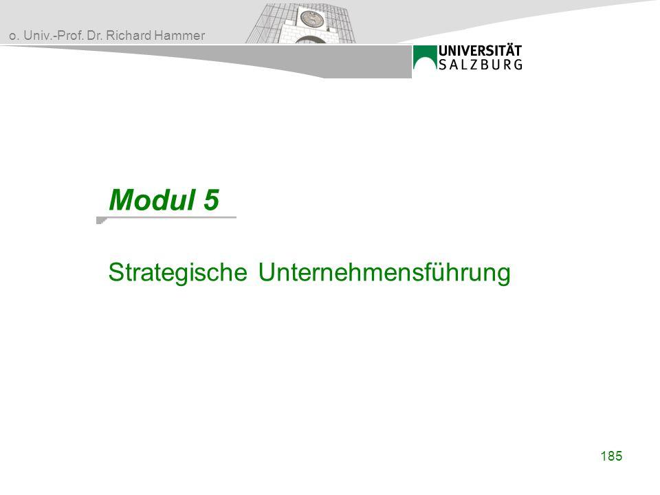 o. Univ.-Prof. Dr. Richard Hammer 185 Modul 5 Strategische Unternehmensführung