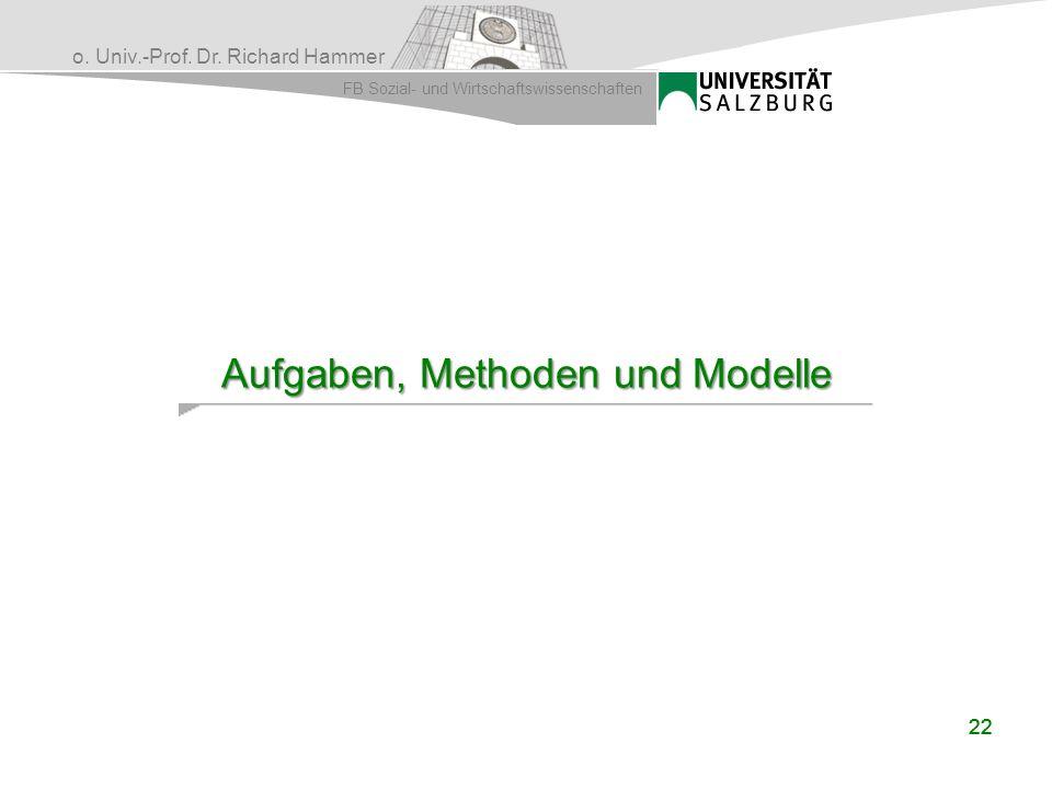 o. Univ.-Prof. Dr. Richard Hammer FB Sozial- und Wirtschaftswissenschaften 22 Aufgaben, Methoden und Modelle