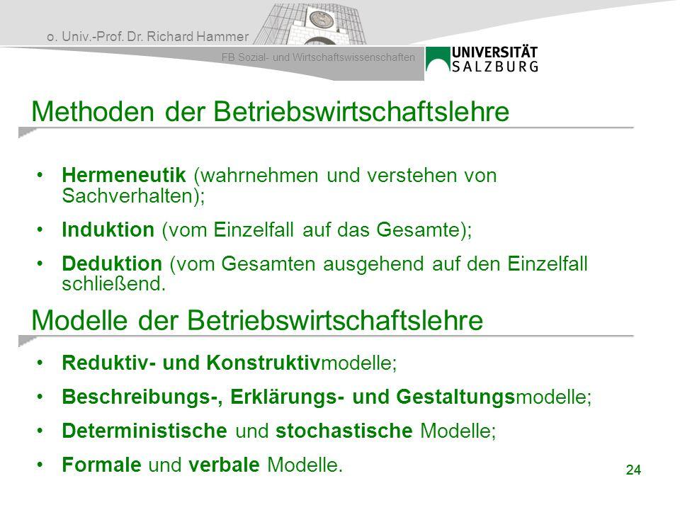 o. Univ.-Prof. Dr. Richard Hammer FB Sozial- und Wirtschaftswissenschaften 24 Methoden der Betriebswirtschaftslehre Hermeneutik (wahrnehmen und verste