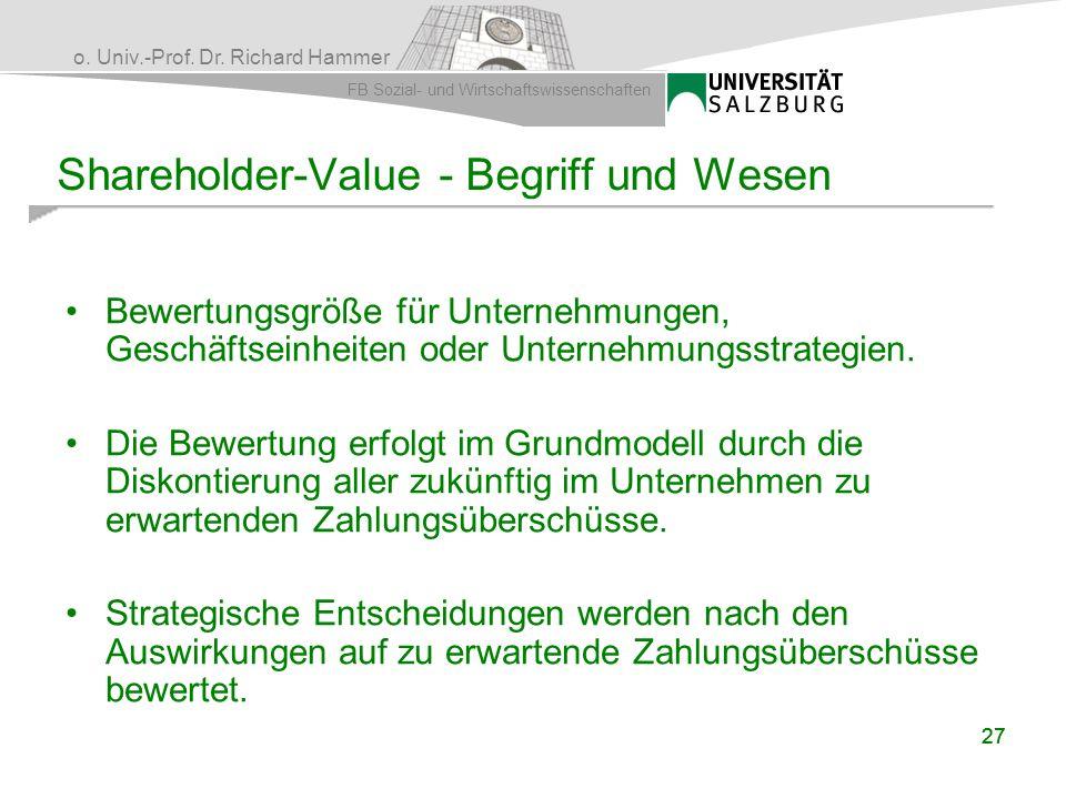 o. Univ.-Prof. Dr. Richard Hammer FB Sozial- und Wirtschaftswissenschaften 27 Shareholder-Value - Begriff und Wesen Bewertungsgröße für Unternehmungen