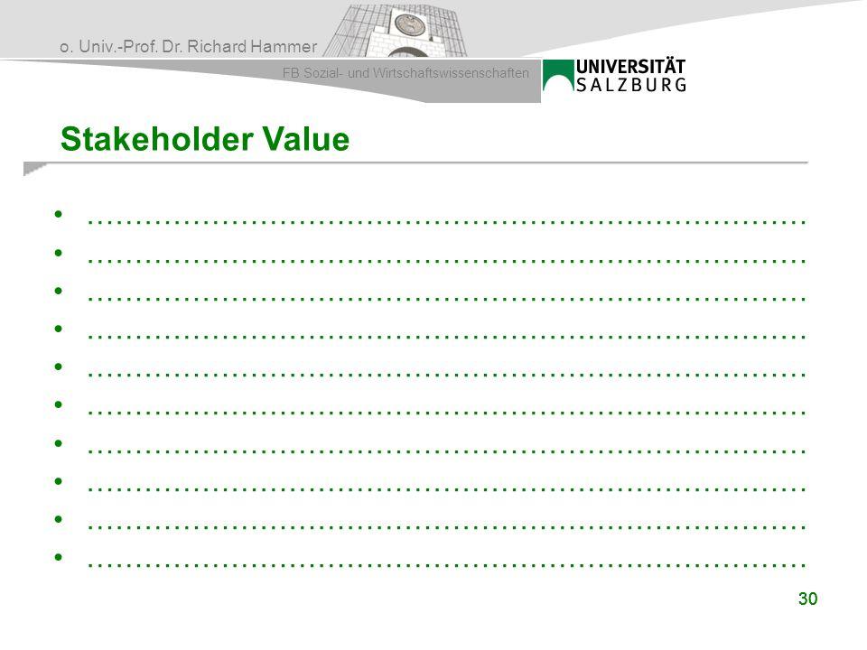 o. Univ.-Prof. Dr. Richard Hammer FB Sozial- und Wirtschaftswissenschaften 30 Stakeholder Value …………………………………………………………………
