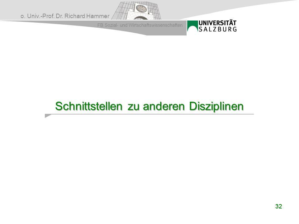 o. Univ.-Prof. Dr. Richard Hammer FB Sozial- und Wirtschaftswissenschaften 32 Schnittstellen zu anderen Disziplinen