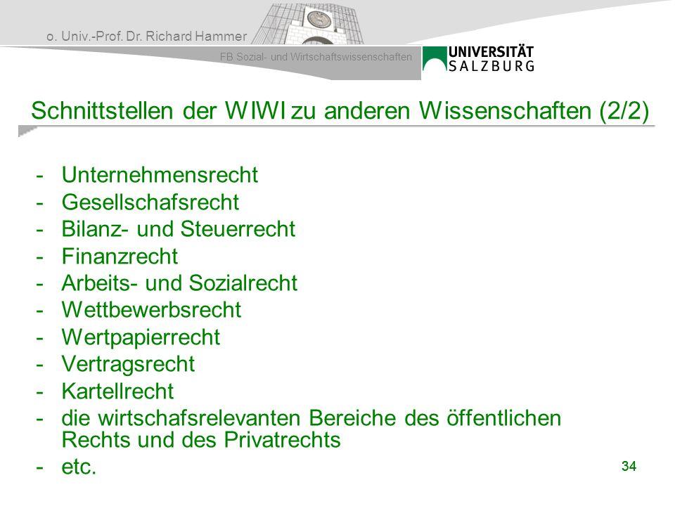 o. Univ.-Prof. Dr. Richard Hammer FB Sozial- und Wirtschaftswissenschaften 34 Schnittstellen der WIWI zu anderen Wissenschaften (2/2) -Unternehmensrec