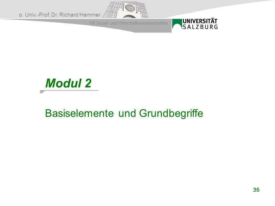 o. Univ.-Prof. Dr. Richard Hammer FB Sozial- und Wirtschaftswissenschaften 35 Modul 2 Basiselemente und Grundbegriffe